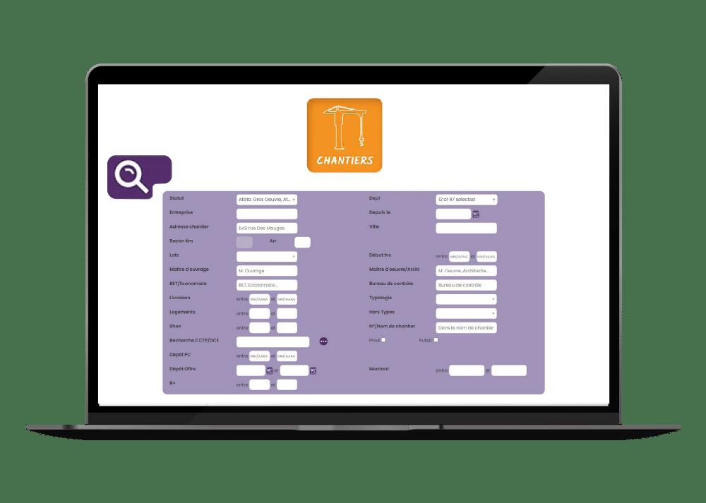 capture ecran fonctionnalites filtres et moteur de recherche des chantiers du btp