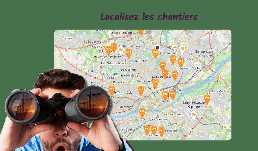 Capture écran carte géolocalisation des chantiers btp