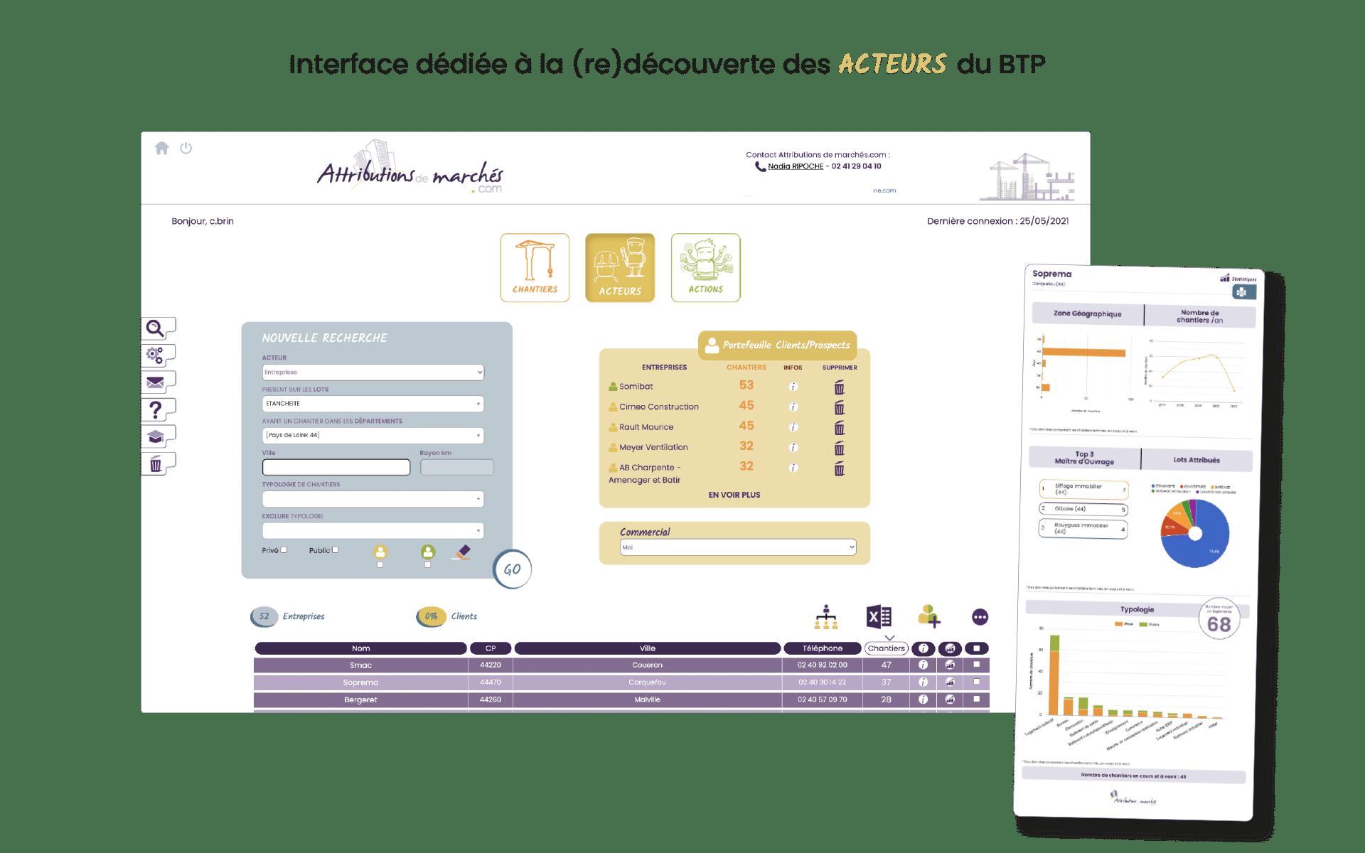 Capture de l'interface acteurs et fonctionnalités outil de veille pour les commerciaux btp