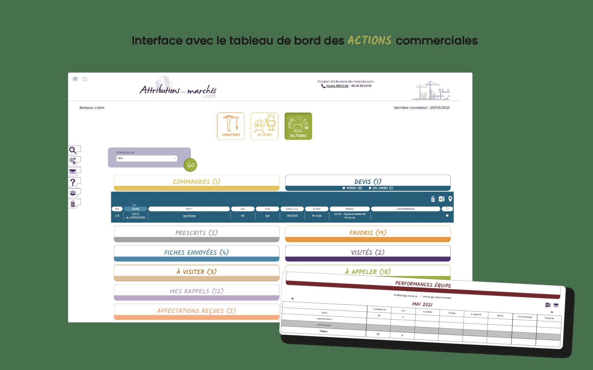Capture de l'interface actions et fonctionnalités outil de veille pour les commerciaux btp